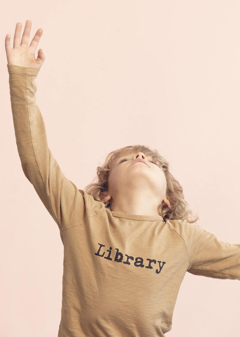 Library ocher longsleeve t-shirt from Kids on the Moon