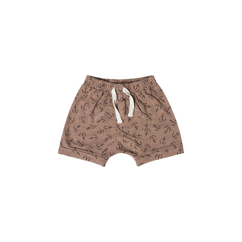 Shorts marrones con anclas de Rylee and Cru