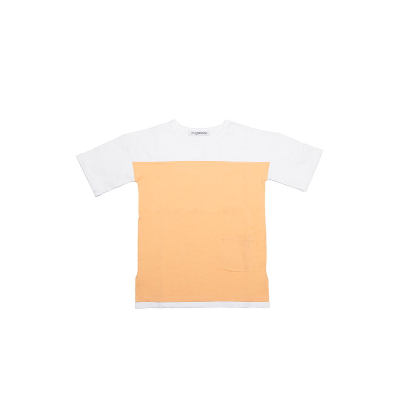 Combi T-shirt apricot white from Mingo