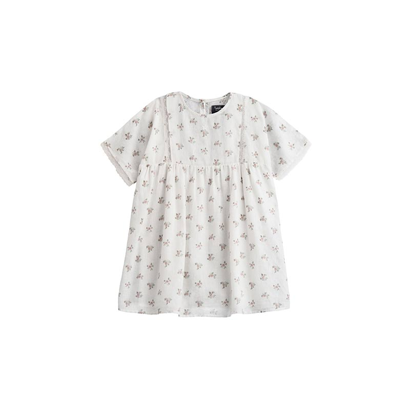 Vestido blanco de flores de Tocoto Vintage