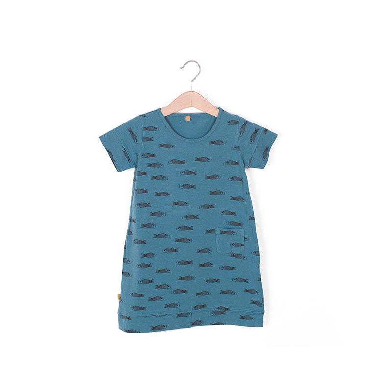Vestido manga corta peces azul de Lotiekids