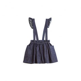 Denim mini skirt with suspenders from Tocoto Vintage