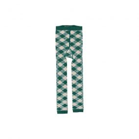 Check tights dark green from Tinycottons