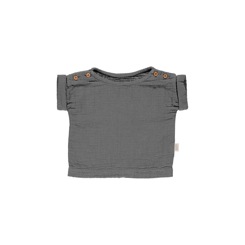 Blusa Lin gris oscuro de Poudre Organic