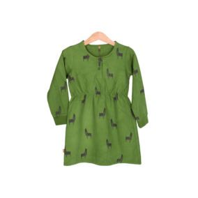 Lötiekids-bright-green-Llamas-cotton-canvas-dress-citzzy-kids-concept-store