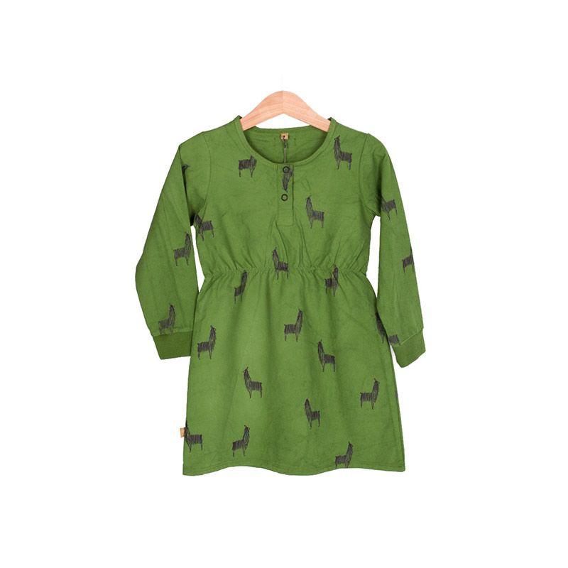 Lötiekids-bright-green-Llamas-cotton-canvas-dress-citzzy-kids-concept-store